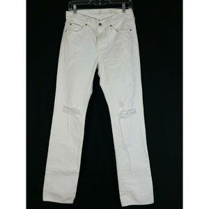 7 For All Mankind Slimmy White Destroyed Jeans 29